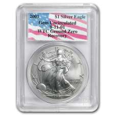 2001 Silver Eagle PCGS Certified  GEM UNC WTC Ground Zero Recovery